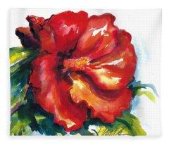Fireball Red Hibiscus Fleece Blanket
