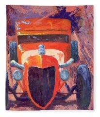 Red Hot Rod Sedan Fleece Blanket