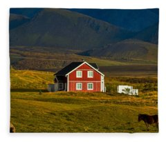 Red House And Horses - Iceland Fleece Blanket