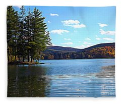 Red House Lake Allegany State Park In Autumn Expressionistic Effect Fleece Blanket