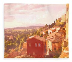Red House On A Hill Fleece Blanket
