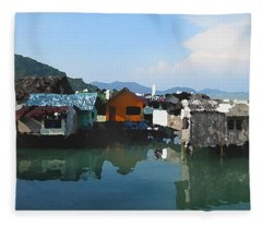 Red House On The Water Fleece Blanket