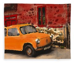 Red House With Orange Car Fleece Blanket