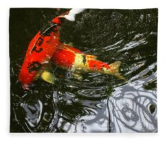 Red Koi Fish Fleece Blanket