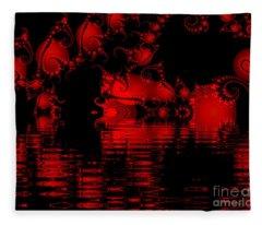 Red Lake Cave Fractal Fleece Blanket