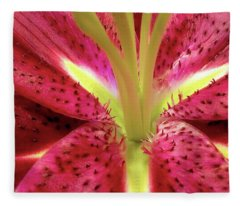 Red Lily Closeup Fleece Blanket