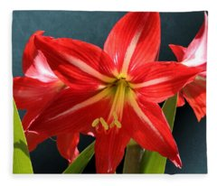 Red Lily Flower Trio Fleece Blanket