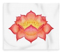 Red Lotus Fleece Blanket