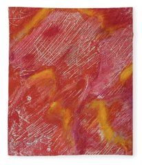 Red Monoprint One Fleece Blanket