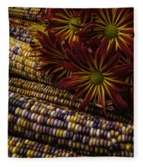 Red Mums And Indian Corn Fleece Blanket