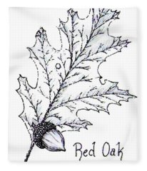 Red Oak Leaf And Acorn Fleece Blanket