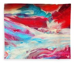 Red Ocean Abstract Fleece Blanket