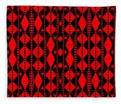 Red On Black Fleece Blanket