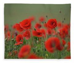 Red On Green Fleece Blanket