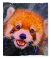 Red Panda Cub Fleece Blanket