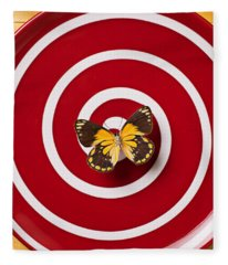Red Plate And Yellow Black Butterfly Fleece Blanket