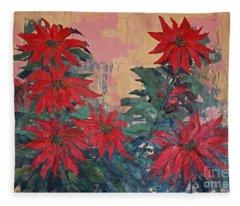 Red Poinsettias By George Wood Fleece Blanket