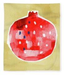 Red Pomegranate- Art By Linda Woods Fleece Blanket