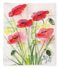 Red Poppies 2 Fleece Blanket