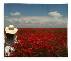 Red Poppies And Lady Fleece Blanket
