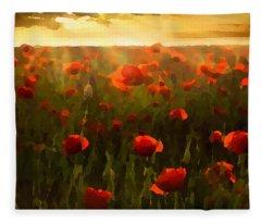 Red Poppies In The Sun Fleece Blanket