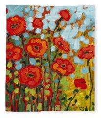 Red Poppy Field Fleece Blanket