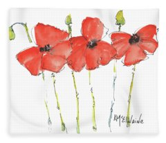 Red Poppy Play Fleece Blanket