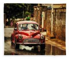 Red Retromobile. Morris Minor Fleece Blanket
