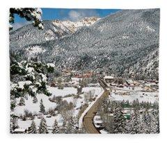 Red River In Winter Fleece Blanket