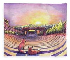Red Rocks Sunrise Fleece Blanket