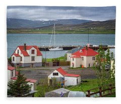 Red Roofs Of Holmavik Fleece Blanket