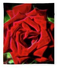Red Rose 1a Fleece Blanket