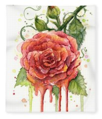 Red Rose Dripping Watercolor  Fleece Blanket