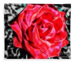 Red Rose Fractal Fleece Blanket