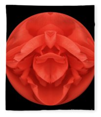 Red Rose Sphere Fleece Blanket
