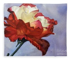 Watercolor Of A Red And White Rose On Blue Field Fleece Blanket