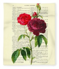 Red Roses For Valentine Fleece Blanket