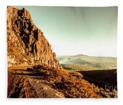 Red Rural Road Fleece Blanket