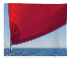Fleece Blanket featuring the photograph Red Sail On A Catamaran 2 by Clare Bambers