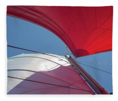 Fleece Blanket featuring the photograph Red Sail On A Catamaran 3 by Clare Bambers