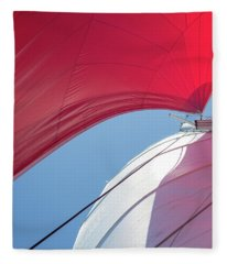 Fleece Blanket featuring the photograph Red Sail On A Catamaran 4 by Clare Bambers