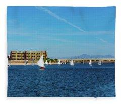 Red Sailboat In The Desert Fleece Blanket