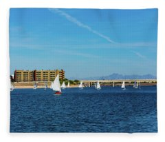 Red Sailboat In The Desert Fleece Blanket