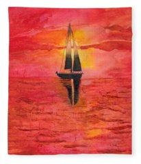 Red Sky At Night Sailors Delight Watercolor Fleece Blanket