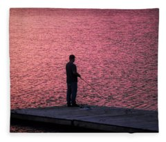 Red Sky Fishing Fleece Blanket