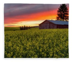 Red Sky Over Canola Fleece Blanket