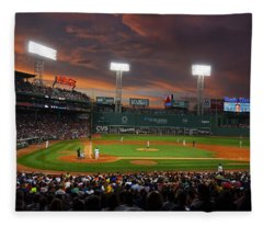 Red Sky Over Fenway Park Fleece Blanket