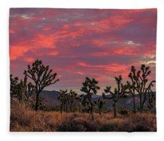 Red Sky Over Joshua Tree Fleece Blanket