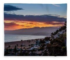 Red Sky Over Malibu Fleece Blanket