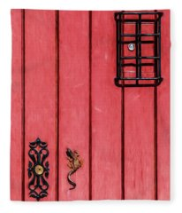 Red Speakeasy Door Fleece Blanket